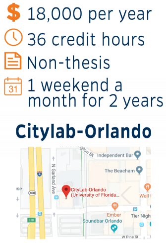$18,000 per year, 36 credit hours, non-thesis, 1 weekend a month for 2 years, at Citylab-Orlando