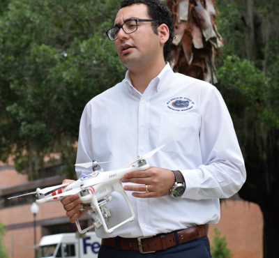 Gheisari discusses the potentials of Drones for construction safety applications in an interview with UF News scaled